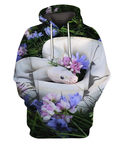 3D All Over Printed Snake With Flowers Shirts