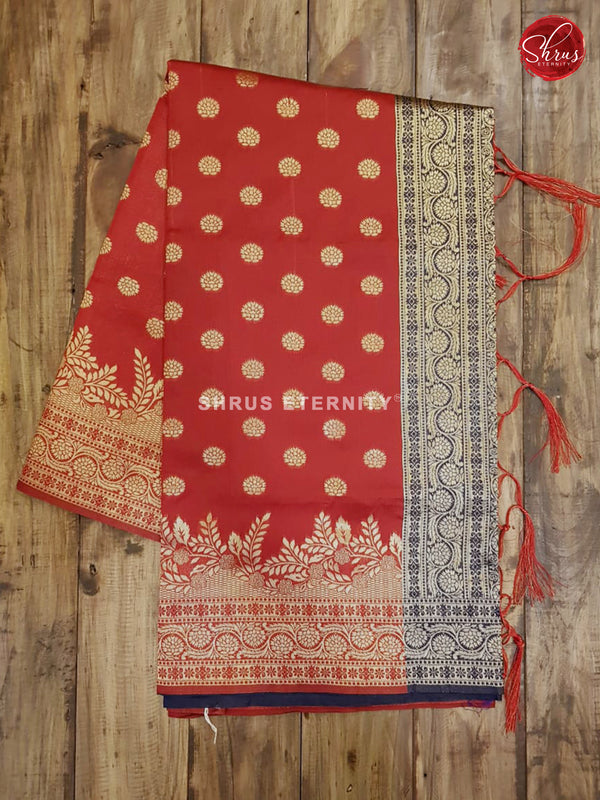 Red & Blue - Semi Banarasi - Shop on ShrusEternity.com