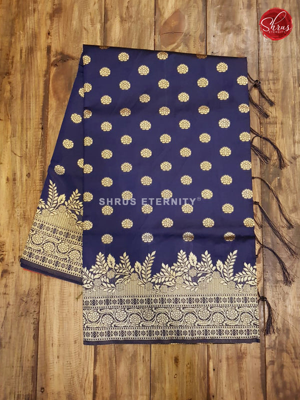 Dark Blue & Orange - Semi Banarasi - Shop on ShrusEternity.com