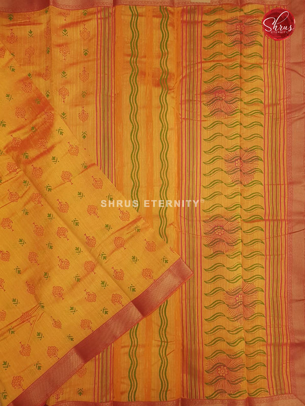 Golden Yellow & Red -  Cotton Silk