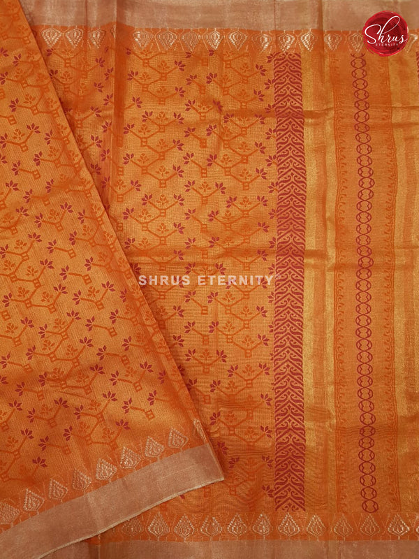 Deep Orange (Single Tone)- Linen Tissue Cotton