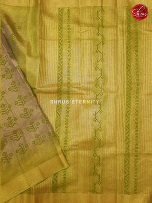 Beige & Light Green- Linen Tissue Cotton