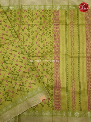 Lime Green  (Single Tone) - Linen Tissue Cotton