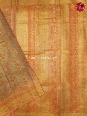 Beige & Light Orange- Linen Tissue Cotton
