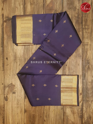 Metallic Blue (Single Tone) - Kanchipuram Silk - Shop on ShrusEternity.com