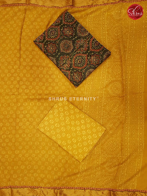 Dark Green & Yellow - Ajrakh Salwar Suit - Shop on ShrusEternity.com