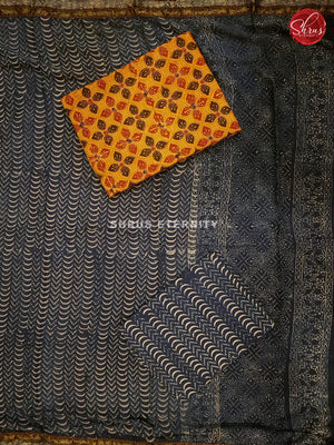 Mustard Yellow  & Blue - Ajrakh Salwar Suit - Shop on ShrusEternity.com