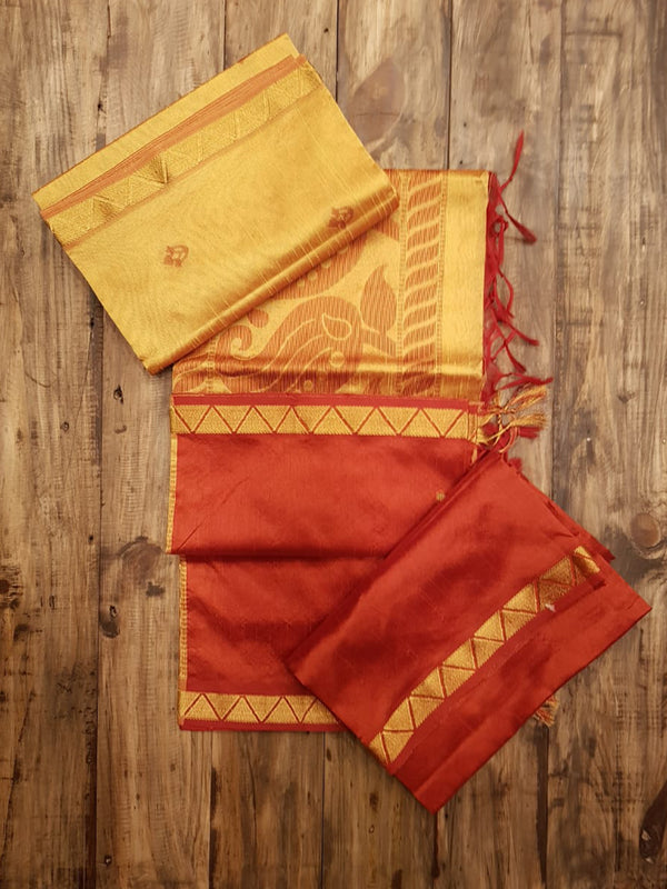 Beige & Brown - Raw Silk Salwar Suit