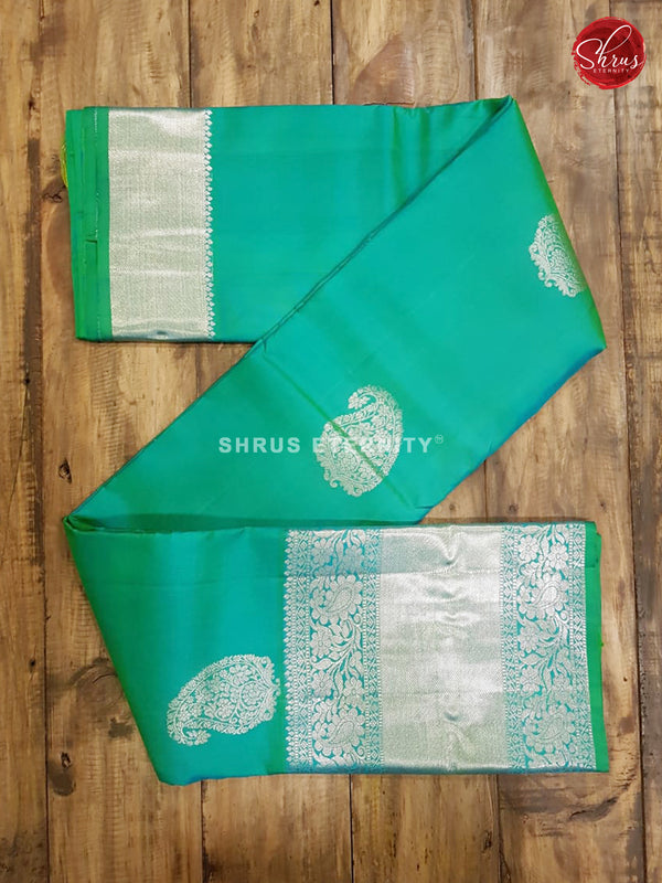 Teal Green & Lime Green  - Kanchipuram Silk
