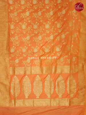 Orangish Pink (Single Tone)  - Semi Banarasi - Shop on ShrusEternity.com