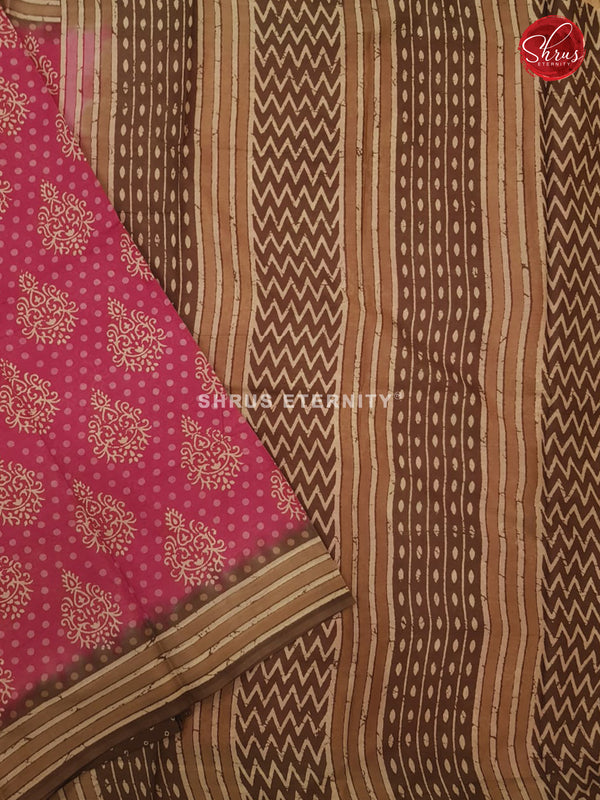 Dark Pink & Brown - Jaipur Cotton
