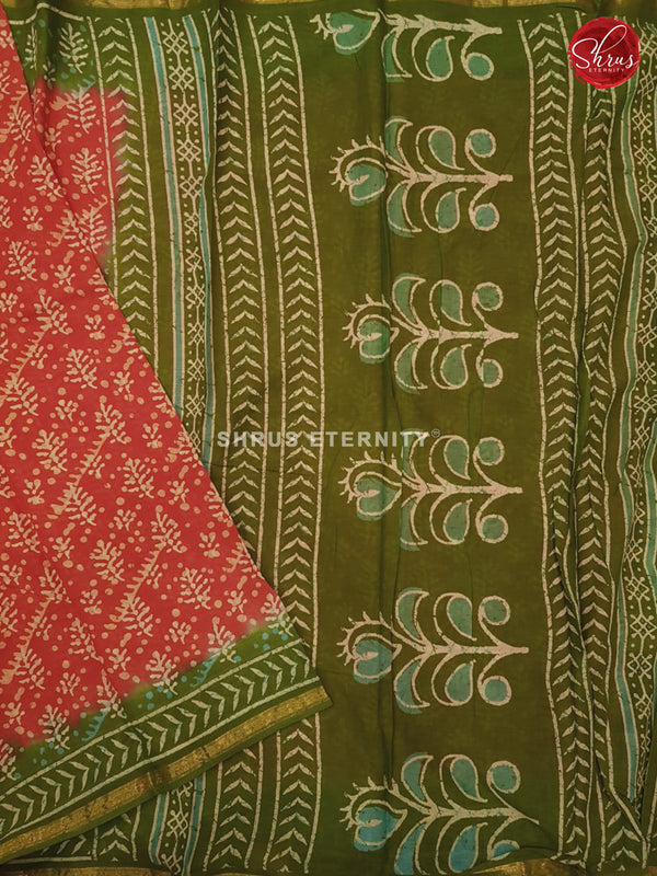 Red & Olive Green - Jaipur Cotton