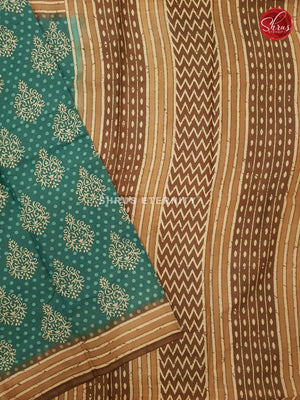 Bluish Green & Brown - Jaipur Cotton