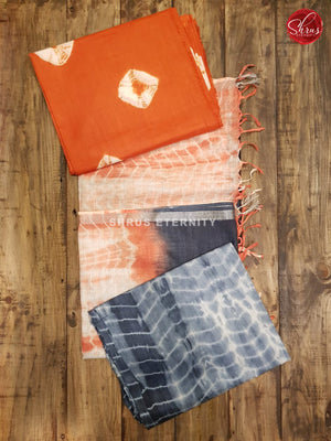 Brick Orange & Steel Grey - Shibori  Salwar Suit - Shop on ShrusEternity.com