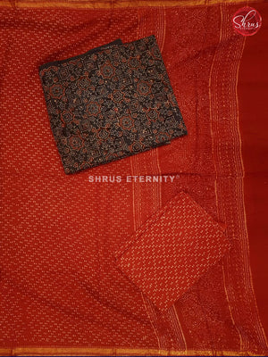 Dark Grey & Red - Ajrakh Block print - Shop on ShrusEternity.com
