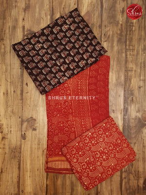 Black & Red - Ajrakh Block print - Shop on ShrusEternity.com