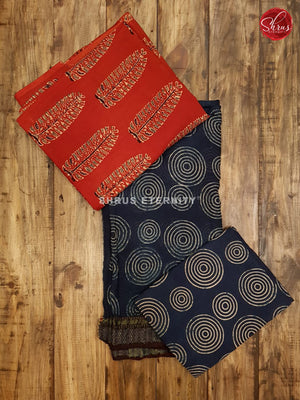 Red & Blue - Ajrakh Block print - Shop on ShrusEternity.com