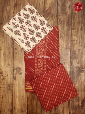 White & Red - Ajrakh Block print - Shop on ShrusEternity.com