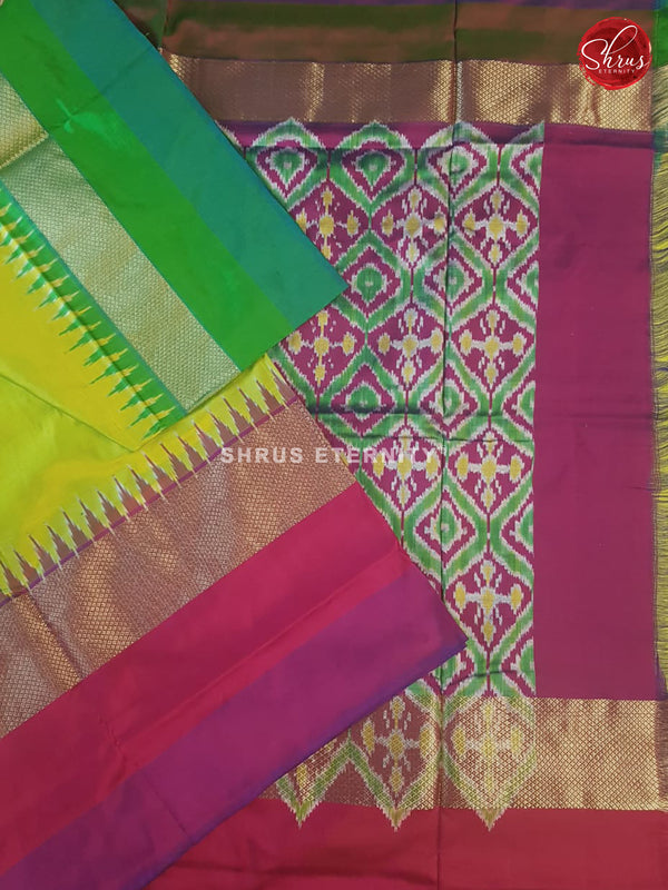 Florescent Green (Ganga Jamuna) - Ikkat Silk - Shop on ShrusEternity.com