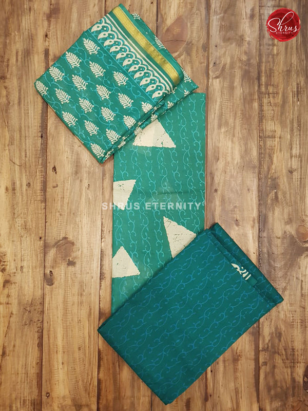 Aqua Green & Green  - Jaipur Cotton Salwar Suit