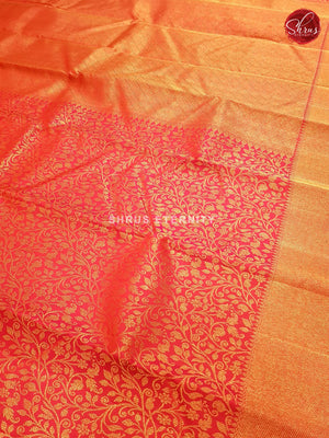 Vermillion Red (Single Tone) - Kanchipuram Silk - Shop on ShrusEternity.com