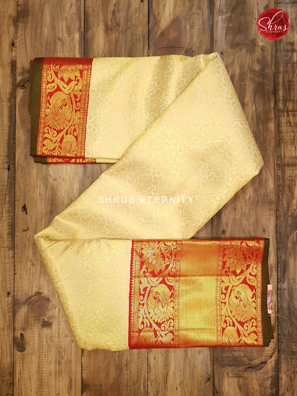 Cream & Red - Kanchipuram Silk