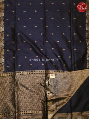 Navy Blue (Single Tone) - Semi Raw Silk - Shop on ShrusEternity.com