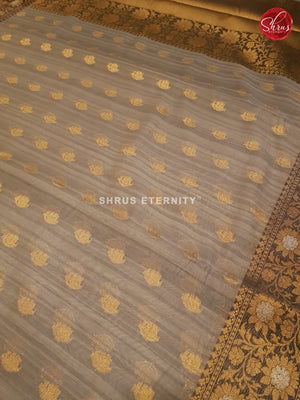 Grey & Black  - Semi Banarasi - Shop on ShrusEternity.com