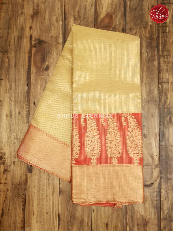Gold & Red - Semi Banarasi - Shop on ShrusEternity.com
