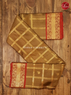 Gold & Brick Red - Kanchipuram Silk - Shop on ShrusEternity.com