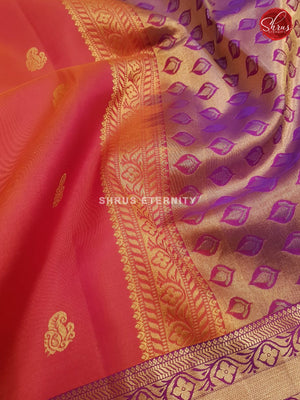Orangish Red & Violet - Soft Silk