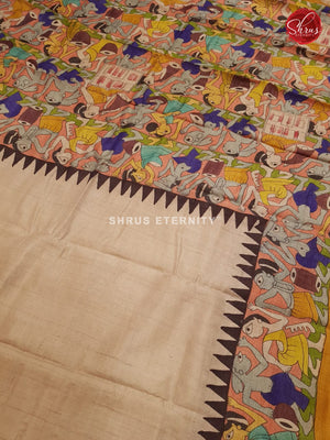 Creamy White & Yellow Ochre - Tussar Silk (Painted work)