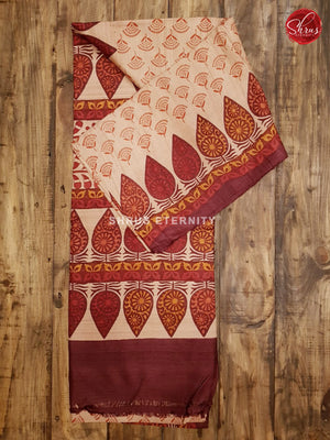Cream & Brown - Tussar Silk (Block Print)