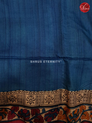 Cream & Blue - Tussar Silk (Block Print)