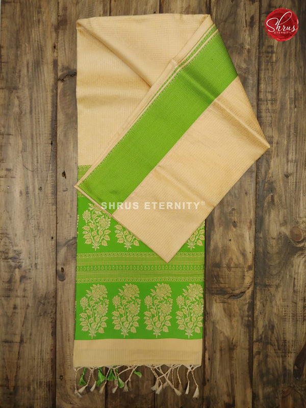Cream & Green - Kota Silk