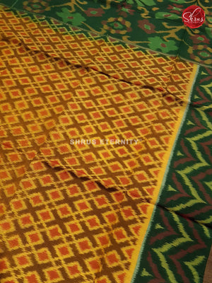 Yellow & Dark Green - Pochampally Silk Cotton