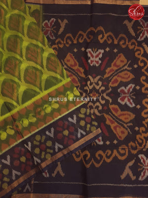 Lime Green & Brown - Pochampally Silk Cotton