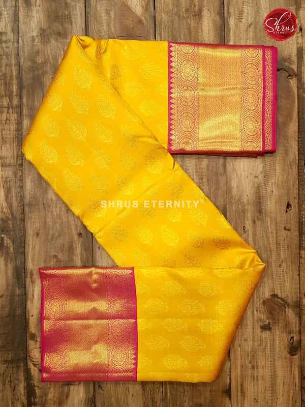 Bright Yellow & Reddish Pink - Kanchipuram Silks