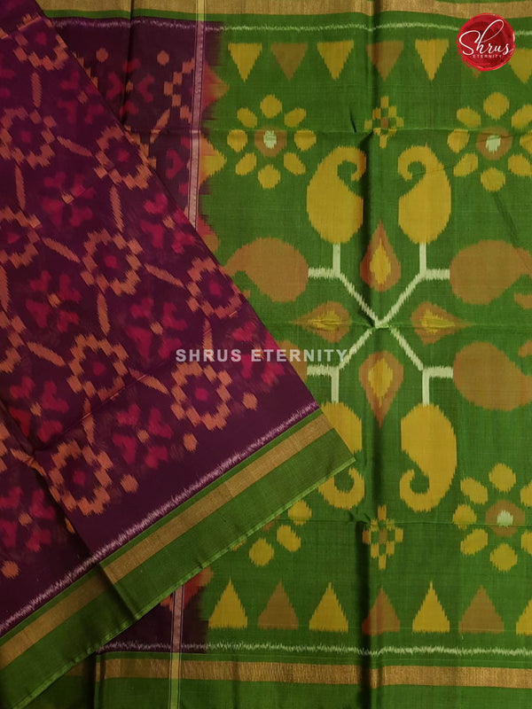 Brown & Light Green - Pochampally Silk Cotton