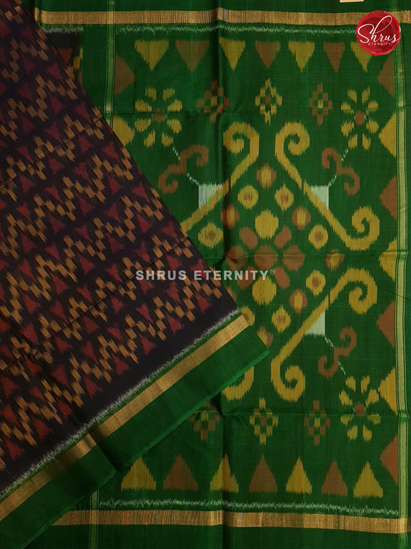 Dark Violet & Light Green  - Pochampally Silk Cotton