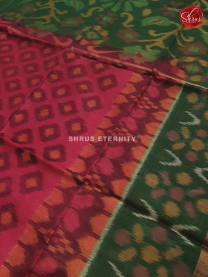 Dark Pink  &  Green  - Pochampally Silk Cotton