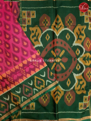 Deep Pink & Dark Green - Pochampally Silk Cotton