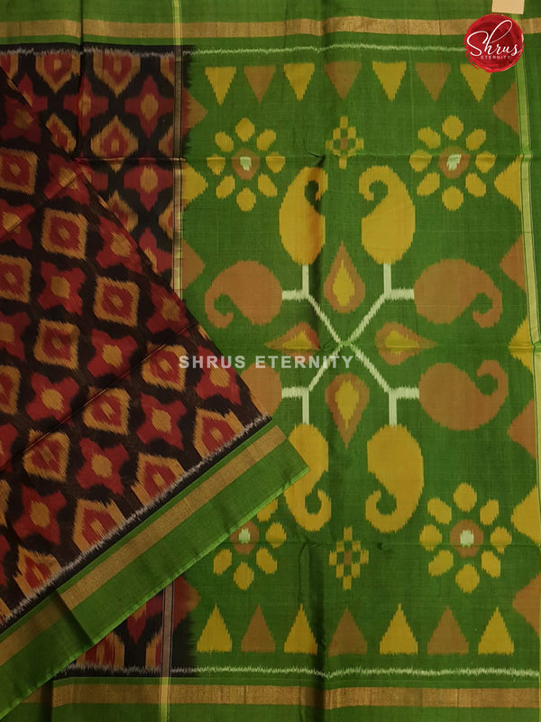 Black & Light Green - Pochampally Silk Cotton