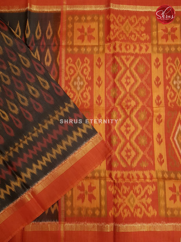 Black & Orange - Pochampally Silk Cotton