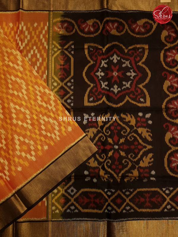 Orange & Black - Pochampally Silk Cotton