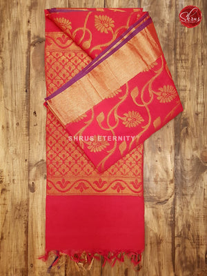 Red(Single Tone)   - Kora  Cotton Silk - Shop on ShrusEternity.com