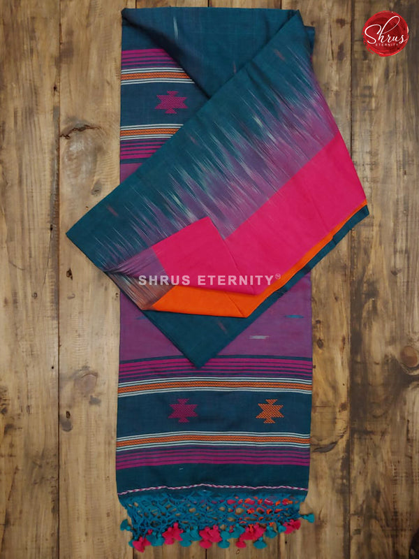 Dark Blue & Pink - Bengal Cotton - Shop on ShrusEternity.com