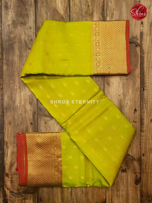 Lime Green & Brown - Kanchipuram Silk