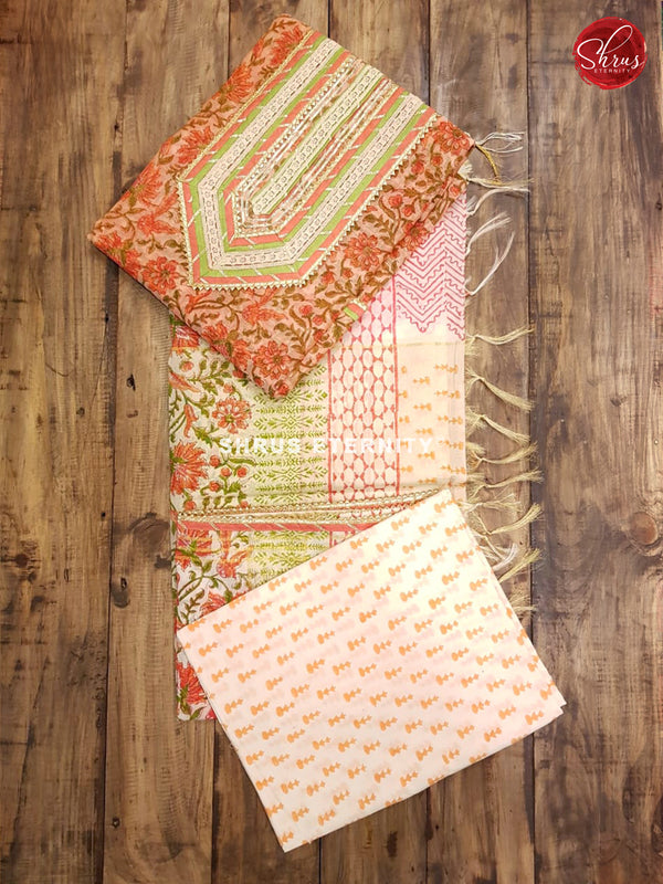 Orange & Cream - Chanderi - Shop on ShrusEternity.com