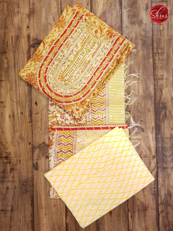 Yellow & Cream - Chanderi - Shop on ShrusEternity.com